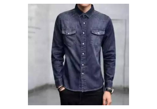BLACK CASUAL DENIM SHIRT