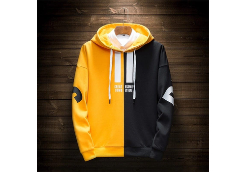 FULL SLEEVE MEN'S HOODIE - BLACK & YELLOW