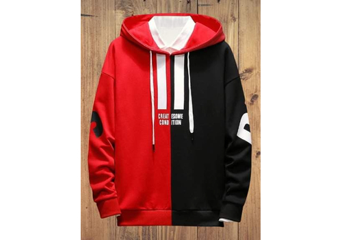 FULL SLEEVE MEN'S HOODIE - BLACK & RED