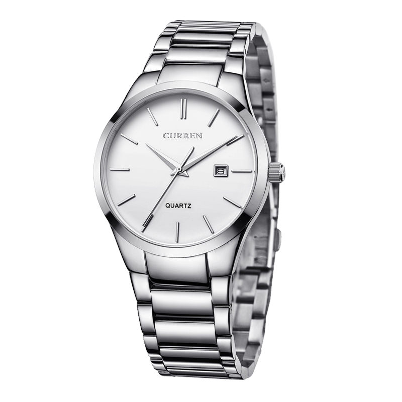 Mens watch-Stainless Steel Analog Watches for Men - White
