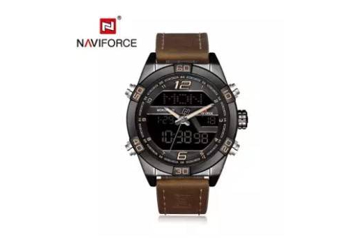 NAVIFORCE NF9128 DARK BROWN PU LEATHER WRIST WATCH