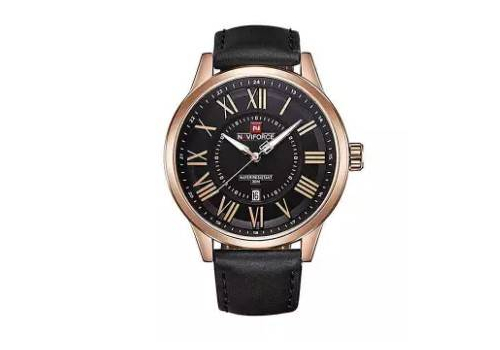NF9126 - BLACK LEATHER ANALOG WATCH