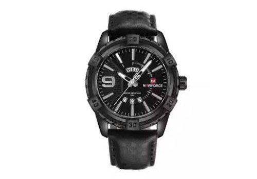 NAVIFORCE NF9117 - BLACK PU LEATHER ANALOG WATCH