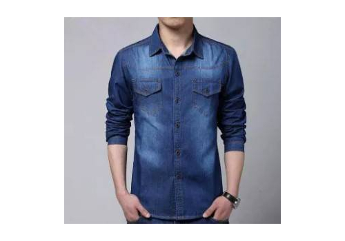 NAVY BLUE CASUAL DENIM SHIRT