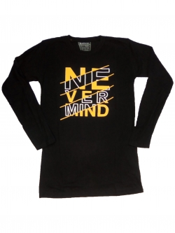 Never Mind - 01 Black Cotton T-Shirt