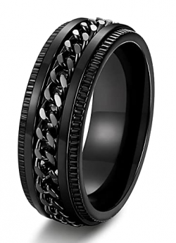 Fashion Charm Jewelry Ring Men Black Stainless Steel Rings